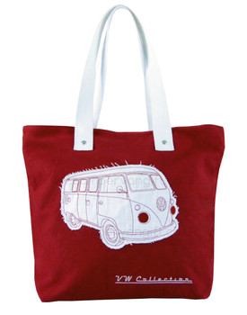 VW Campervan Red Canvas Shopper Bag