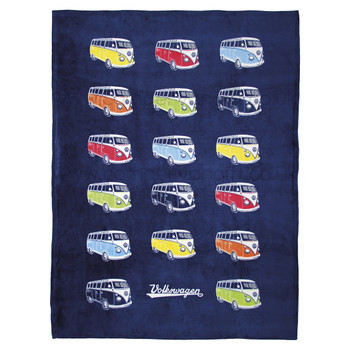 Volkswagen Campervan Colours Fleece Throw Blanket