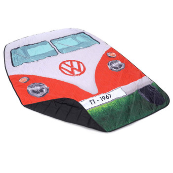 Volkswagen Red Campervan Quilted Picnic Blanket