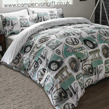 Volkswagen Classic Mint Campervan Duvet and Pillow Case Set