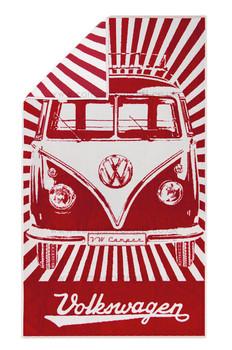 Volkswagen Red Campervan Beach Towel