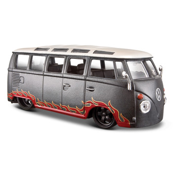 VW Red Flames on Silver Samba Diecast Campervan