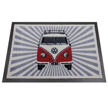 Red Front Facing VW Campervan Stripes Doormat