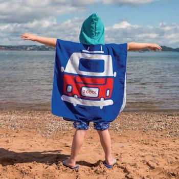 Volkswagen Campervan Kids Blue Beach Poncho