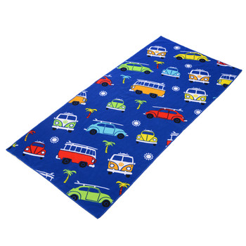 VW Campervan and Beetle Kids Blue Beach Towel