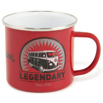 VW T1 Campervan Legendary Red Enamel Tin Mug