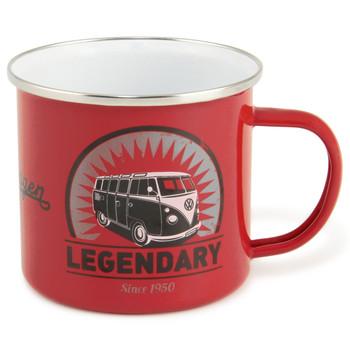 VW T1 Campervan Legendary Red Enamel Tin Mug