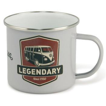 VW T1 Campervan Legendary White Enamel Tin Mug