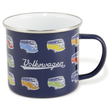 VW T1 Campervan Colours Navy Enamel Tin Mug