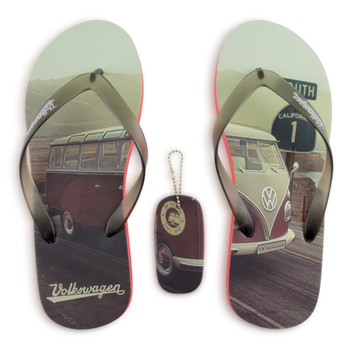 Volkswagen Campervan Beach Highway Red Flip Flops