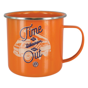 Volkswagen T25 Campervan Orange Enamel Tin Mug