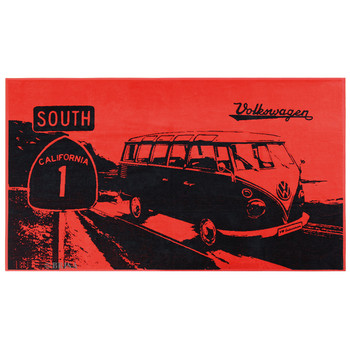Volkswagen Red Campervan Highway Beach Towel