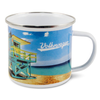 VW T1 Blue Campervan Beach Life Enamel Tin Mug