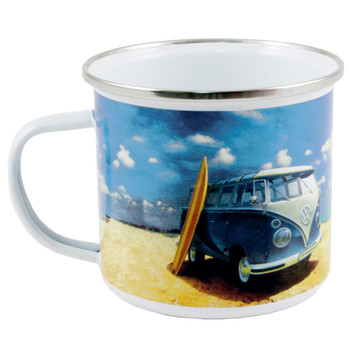 VW T1 Blue Campervan Beach Life Enamel Tin Mug