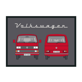 Red T25 Window Front & Rear VW Campervan Doormat