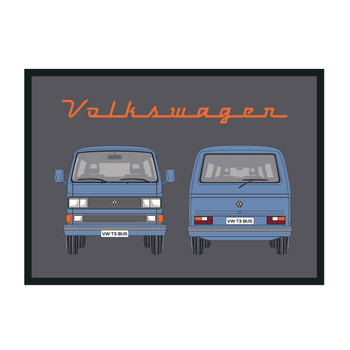 Blue T25 Window Front & Rear VW Campervan Doormat