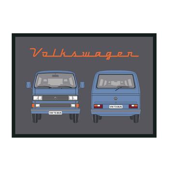Blue T25 Window Front & Rear VW Campervan Doormat