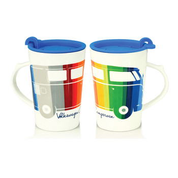 VW Striped Coloured Campervan Travel Mug