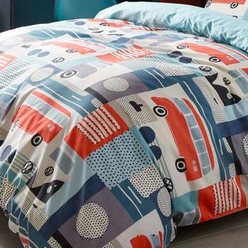 Volkswagen Block Print Campervan Duvet and Pillow Case Set