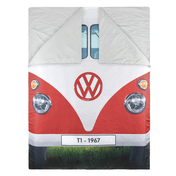 Volkswagen Campervan Reversible Double Sleeping Bag - Red Side