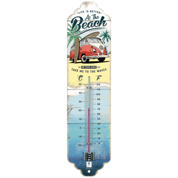 Volkswagen Campervan At The Beach Metal Thermometer