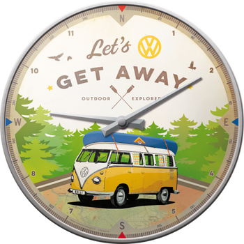 Volkswagen Campervan Lets Get Away Wall Clock