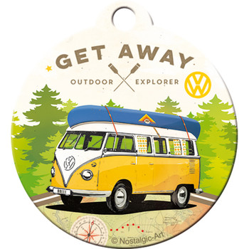 Volkswagen Campervan Lets Get Away Metal Round Key Ring