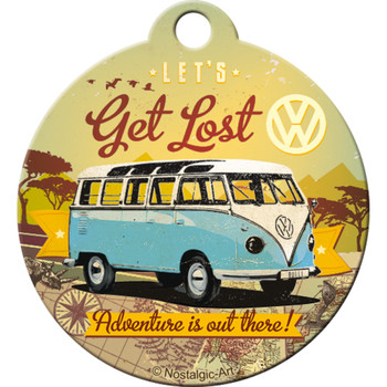 Volkswagen Campervan Get Lost Metal Round Key Ring