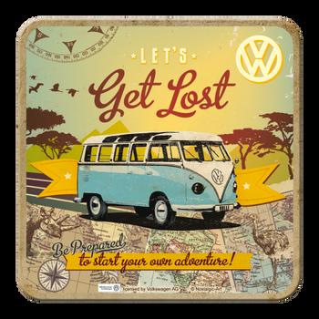 Volkswagen Campervan Get Lost Metal Single Coaster