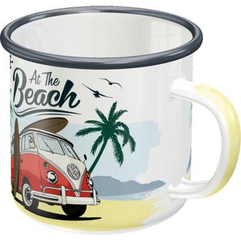 Volkswagen Campervan At The Beach Enamel Tin Mug