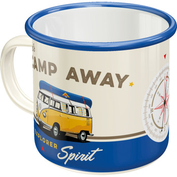 Volkswagen Campervan Lets Camp Away Enamel Tin Mug