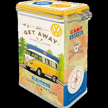Volkswagen Campervan Lets Get Away Clip Top Box Tin