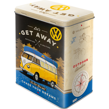 Volkswagen Campervan Lets Get Away Tin Box Large