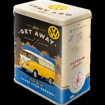 Volkswagen Campervan Lets Get Away Tin Box Large