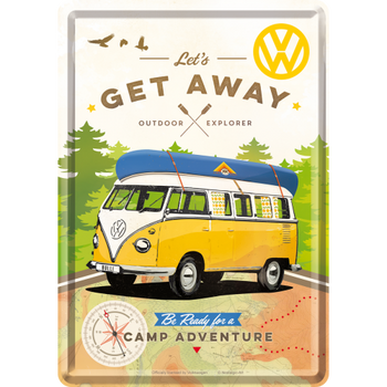 Volkswagen Campervan Lets Get Away Metal Card