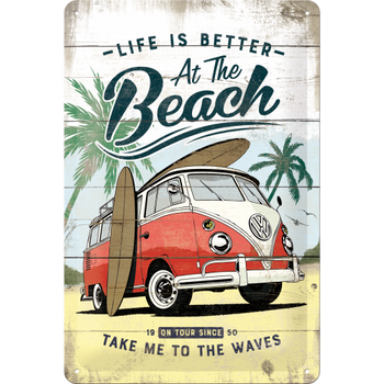 Volkswagen Campervan At The Beach Embossed Metal Tin Sign