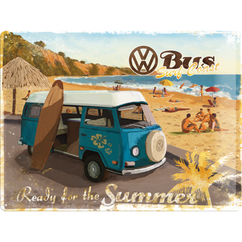 Volkswagen Bay Campervan Ready for the Summer Embossed Metal Tin Sign