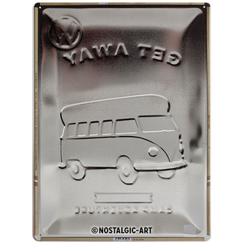 Volkswagen Campervan Lets Get Away Embossed Metal Tin Sign