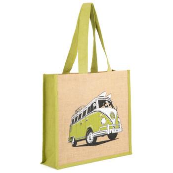 Volkswagen Campervan Green Reusable Shopper Jute Bag