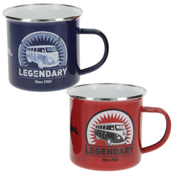 VW T1 Campervan Blue & Red Legendary Enamel Tin Mug Set
