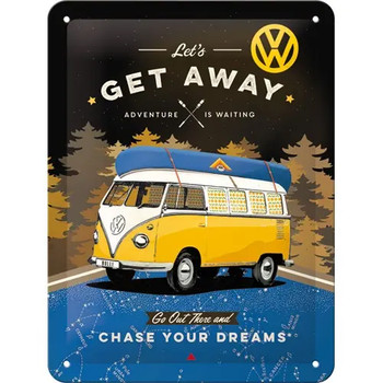 Volkswagen Campervan Lets Get Away Black Metal Tin Sign