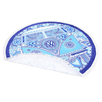 Volkswagen Campervan Peace & Love Round Beach Towel