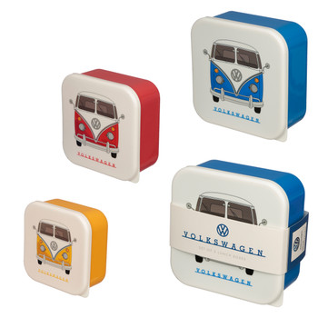 Volkswagen Campervan Primary Coloured Set of 3 Lunch Boxes