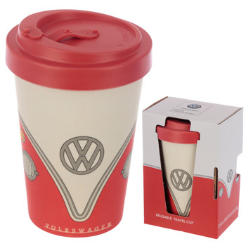 Volkswagen Red Campervan Bamboo Travel Mug