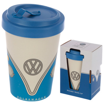 Volkswagen Blue Campervan Bamboo Travel Mug