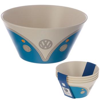 Volkswagen Blue Campervan Bamboo Set of 4 Bowls