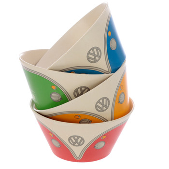 Volkswagen Quad Coloured Campervan Bamboo Set of 4 Bowls