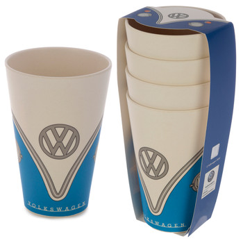 Volkswagen Blue Campervan Bamboo Set of 4 Cups