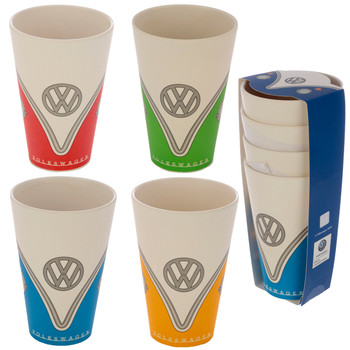 Volkswagen Quad Coloured Campervan Bamboo Set of 4 Cups