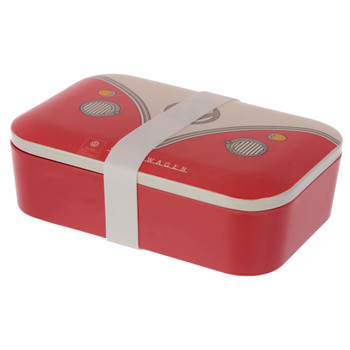 Volkswagen Red Campervan Bamboo Lunch Box